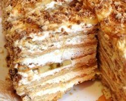 Торт без выпечки из печенья с добавлением творога